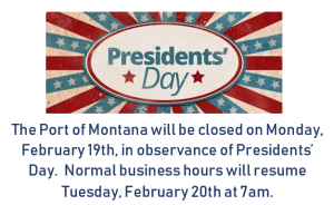 Port closed for Presidents' Day